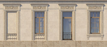 Framing of windows in classic style on the stone. 3d rendering. Framing of windows in classic style on the stone with French balcony. 3d rendering Stock Images