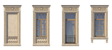 Framing of windows in classic style on the stone . 3d rendering. Framing of windows in classic style on the stone with French balcony. 3d rendering Royalty Free Stock Photo