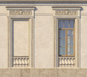 Framing of windows in classic style on the stone. 3d rendering. Framing of windows in classic style on the stone with wood window . 3d rendering Royalty Free Stock Image