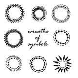 Framing wreaths of symbols hand drawn  illustration Stock Photos