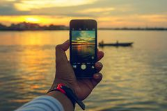 Framing on your phone Royalty Free Stock Images