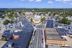 Framingham City Hall aerial view, Massachusetts, USA. Framingham City Hall and downtown aerial view in downtown Framingham, Massachusetts, USA Stock Photography