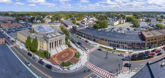 Framingham City Hall aerial view, Massachusetts, USA. Framingham City Hall and downtown aerial view in downtown Framingham, Massachusetts, USA Royalty Free Stock Photos