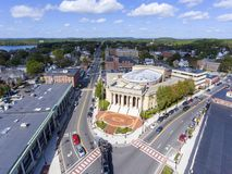Framingham City Hall aerial view, Massachusetts, USA. Framingham City Hall and downtown aerial view in downtown Framingham, Massachusetts, USA Royalty Free Stock Photography