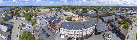 Framingham City Hall aerial view, Massachusetts, USA. Framingham City Hall and downtown aerial view panorama in downtown Framingham, Massachusetts, USA stock photography