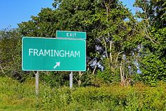 US Highway Exit Sign for Framingham. Framingham US Style Highway / Motorway Exit Sign stock photo