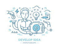 Framkalla den Startup idén stock illustrationer