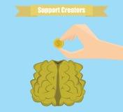 Framkalla din hjärnillustration Investera i dig begreppet Arkivbilder