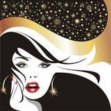 framkallande flickaglamourhår royaltyfri illustrationer