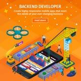 Framkallande mobil som framlänges apDeveloping mobil isometrisk stil 3d för applikationer Backend bärare app Folk som arbetar på  Arkivbild