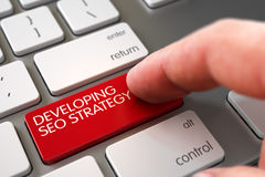 Framkallande SEO Strategy - Aluminum tangentbordbegrepp 3d Arkivbilder