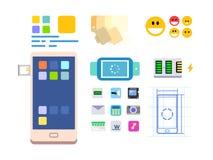 Framkallning av en mobil app och av orienteringen royaltyfri illustrationer
