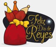 Framlägga för att fira spanska Dia de Reyes med den Betlehem stjärnan, vektorillustration royaltyfri illustrationer