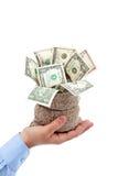 Framlagt tillfälle - säcken av pengar erbjöd vid den manliga handen Royaltyfria Bilder