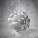 Frammenti di grande sfera nell'interno concreto vuoto Immagine Stock