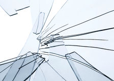 Frammenti di vetro rotti sopra bianco Immagini Stock