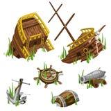 Frammenti e parti di una nave di pirata illustrazione vettoriale