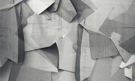 Frammenti poligonali caotici astratti sul muro di cemento grigio Immagini Stock Libere da Diritti