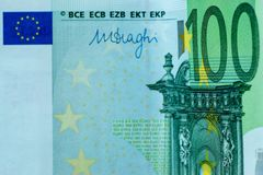 Frammento astratto la banconota di 100 euro Fotografia Stock