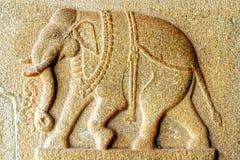 Frammento del Bas-relief di un tempiale antico Fotografie Stock Libere da Diritti