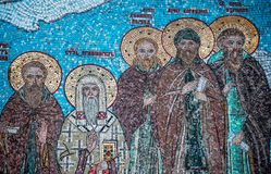 Frammento del mosaico con i san in Tolga Monastery fotografia stock libera da diritti