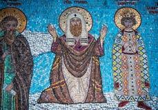 Frammento del mosaico con il san Tryphon in Tolga Monastery immagini stock