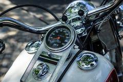 Frammento del motociclo Harley-Davidson, primo piano Immagine Stock Libera da Diritti