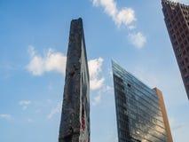 Frammento del muro di Berlino a Potsdamer Platz Fotografia Stock Libera da Diritti
