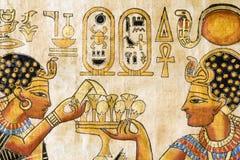 Frammento del papiro egiziano Fotografie Stock Libere da Diritti