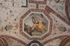 Frammento del soffitto dentro Palazzo Vecchio, Firenze, Toscana, Italia Fotografia Stock