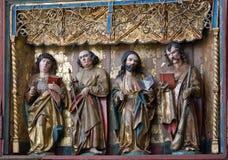 Frammento dell'altare scolpito del monastero femminile di luna del benedettino, Lueneburg, Germania Fotografia Stock