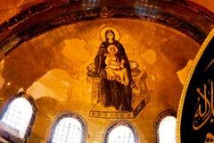 Frammento dell'immagine della madre di Dio con Gesù Immagine Stock Libera da Diritti