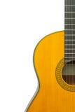 Frammento della chitarra classica su un isolato bianco del fondo, poliziotto Fotografie Stock