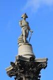 Frammento della colonna del Nelson nel quadrato di Trafalgar a Londra immagini stock