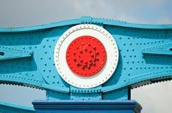 Frammento della costruzione del metallo del ponticello della torretta Fotografie Stock