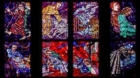Frammento della finestra di vetro macchiato nella cattedrale della st Vitus Immagini Stock Libere da Diritti
