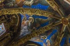 Frammento della pittura sopra l'altare della cattedrale di Val Immagine Stock