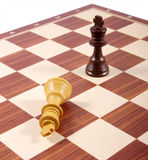 Frammento della scheda di scacchi isolato su bianco Fotografia Stock