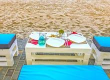 Frammento di paesaggio di un posto per resto su una spiaggia sabbiosa vicino ad Odessa, Ucraina Fotografie Stock