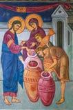 Frammento di pittura murala del miracolo di Jesus Christ in Tolga Monastery immagine stock