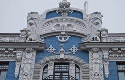 Frammento di stile di architettura di Art Nouveau della città di Riga. Fotografie Stock Libere da Diritti
