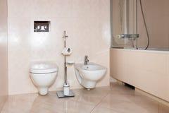 Frammento di un bagno di lusso Bagno moderno esclusivo con la toilette, il bidet e la doccia Fotografie Stock Libere da Diritti