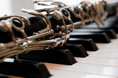 Frammento di un primo piano del clarinetto Fotografia Stock