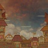 Frammento di una città. Tetti di mattonelle con il cielo rosso illustrazione vettoriale