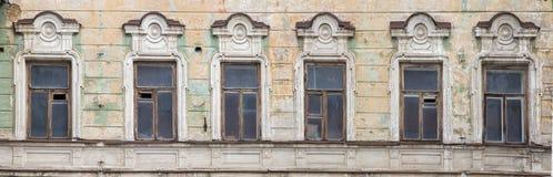 Frammento di una facciata di vecchia costruzione, Fotografia Stock