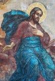 Frammento di Verical della pittura murala di Jesus Christ in Tolga Monastery fotografie stock libere da diritti