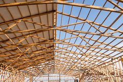 Framming of a new barn under construction Royalty Free Stock Images