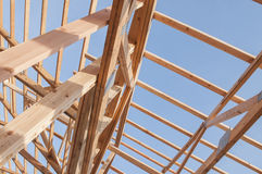 Framming of a new barn under construction Royalty Free Stock Photo