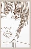 Framsida av en flicka som snör åt en kyss, mundetaljen med purpurfärgad läppstift och gröna ögon Fotografering för Bildbyråer