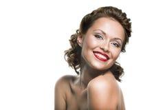 Framsida av en härlig lycklig brunettkvinna Arkivbilder